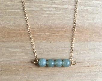 Delicate Green Aventurine Quartz Pendant 14k Fine Gold Necklace