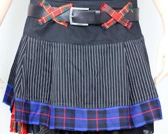 Reworked punk tartan plaid mini skater skirt UK16