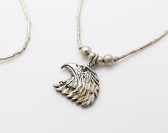 "Vintage Sterling Liquid Silver Necklace w Eagle Pendant 16"". [92]"