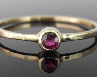 Ruby and 14k Gold Stack Ring, Ruby Stack Ring, Ruby Ring, 14k Gold Ring, 14k Gold Stack Ring, July Birthstone Ring