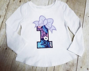 READY TO SHIP  - Big Bow 1 Applique Shirt - 1st First Birthday - Navy with Floral and Lavender Polka Dot - Size 18-24M