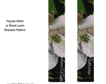 Magnolia Beadweaving Pattern - Peyote Stitch and Bead Loom Magnolia Delica Bead Pattern