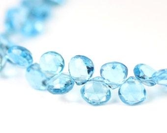 Swiss Blue Topaz Micro Faceted Heart Briolettes DESTASH Set of 4 Bright Blue Semi Precious Gemstone December Birthstone