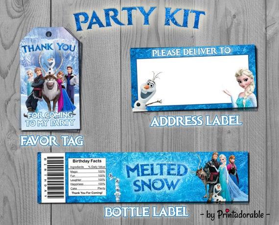 Frozen Party Set - Disney Princess Kit - Favor Tag, Address Label and Bottle Labels - PDF or JPG