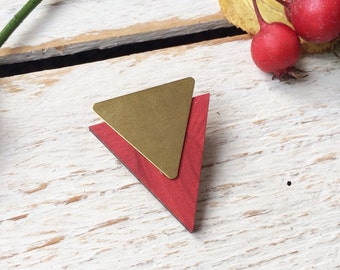 Wood and Brass Triangle Brooch / Geometric Brooch / Triangle jewellery / Geometric Jewellery / Laser cut wood / gift for her / gift ideas