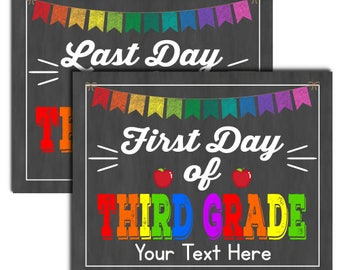 First Day of Third Grade School Sign, INSTANT DOWNLOAD and Editable
