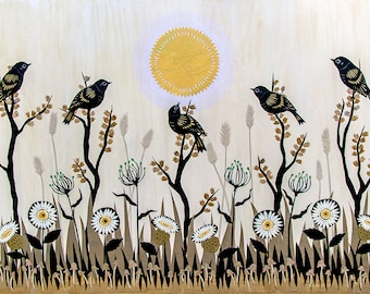Summer's Parting Sighs - ORIGINAL Hand Cut Paper Collage