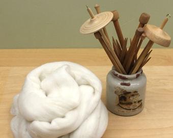 Australian Merino Wool Roving - 15.5 Micron - Undyed Fiber for Spinning or Felting (4oz)