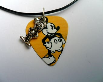 Handmade Mickey  Mouse Guitar Pick / Plectrum Necklace & Charm