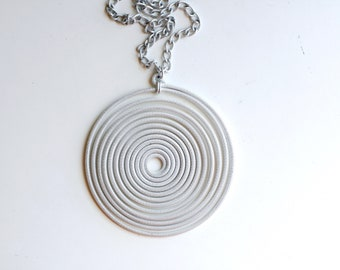 1960s huge silver swirl hypnotize necklace / 60s vintage pop art giant spiral pendant chunky statement necklace / mid century mod jewelry