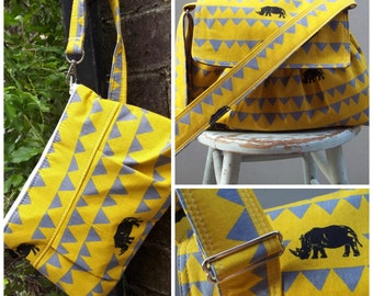 Yellow Rhinoceros Messenger Bag and Pouch SET - 3 Pockets - Adjustable Strap - Key Fob