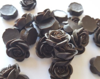 10 OPEN ROSE Cabochons - 20mm - Dark Chocolate Brown Color