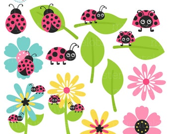 Pink Ladybugs Clipart Set - clip art set of ladybirds, ladybug, flowers, insect, bugs - personal use, small commercial use, instant download