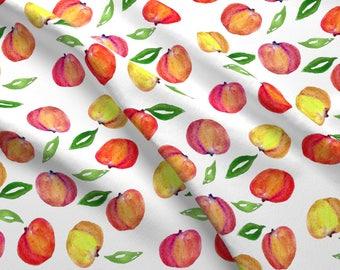 Peaches Summer Fruit Fabric - Peachprintleafdetail By Tulipmagnoliadesign - Watercolor Fruit Cotton Fabric By The Yard With Spoonflower
