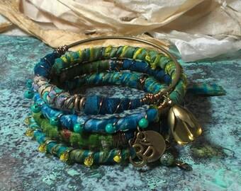 Recycled Sari Silk Bohemian Bracelet