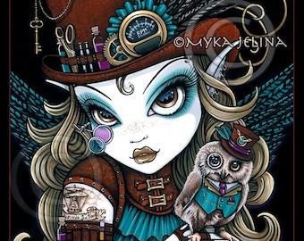 """Myka Jelina print """"Jewels & Vern"""" signed  8""""x10"""" Steampunk Owl Aviatrix Fairy Art"""