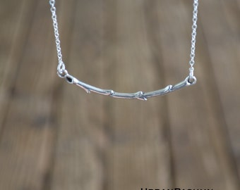 Dainty Necklace // Silver Twig Branch // Minimal // Simple Bohemian // Boho // Layered // #0001