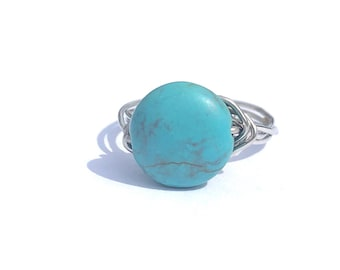 Turquoise wire wrapped ring
