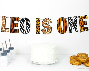 Safari Banner : Handcrafted Custom Phrase Party Decoration | Zoo Party Banner | Jungle Garland | Happy Birthday | Wild Animal Print Sign