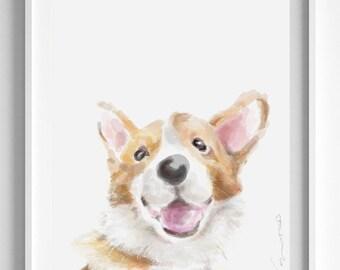 Corgi Art, Happy Dog Art, Pembroke Welsh puppy art, dog portrait, dog lover gift, dog art, Nursery Art, dog painting, Baby Room Decor