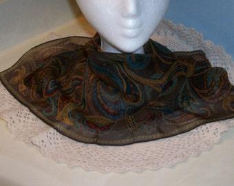Brown Silk Scarf Talbots