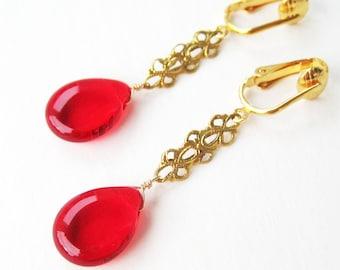 Red Teardrop Clip On Earrings, Brass Filigree Bar, Gold Ear Clips, Bright Red Glass Drop Clip Earrings, Handmade, Fancy Cherry Drop