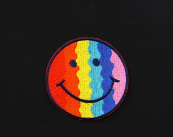 """Rainbow Lucky Smiley Happy Face  colorful Patch Gay pride  Iron-On / Saw-On  Patch -   3"""""""