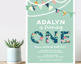 birthday party invitation, girly floral birthday party invitation, banner birthday invitation,  cute girl party, PRINTABLE DIY