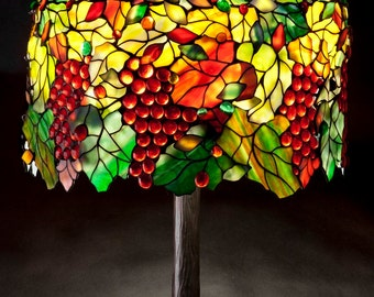 Grapevine Tree, Stained Glass Lamp, Tiffany Lamp, Stained Glass Light, Table Lamp, Bedside Lamp, Lamp Stand, Lamp Bases, Grapevine Balls