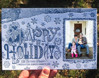 Snowy Elves Custom Letterpress Holiday Cards (with photo)