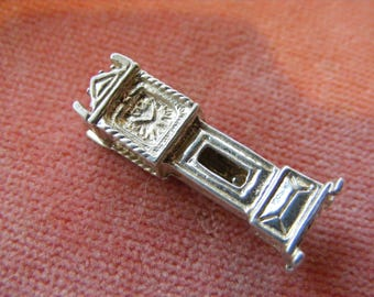 B) Vintage Sterling Silver Charm Grandfather clock opens to the pendulum