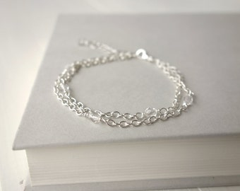 Layered bracelet minimalist chain bracelet sparkly bracelet two chains bracelet for women