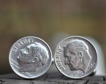 Boutons de manchette... Boutons de manchette en dime Roosevelt argent fabriqués à partir de.90 authentique argent 1964 dimes Roosevelt le patriote, dans votre vie