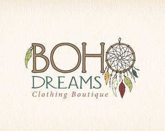 Dreamcatcher Logo | Boho Logo | Bohemian Logo | Feathers Logo | Native American Logo | Dream Catcher Logo | Logo Design | Premade Logo