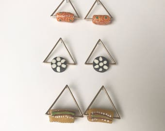 Triangle earrings with African beads
