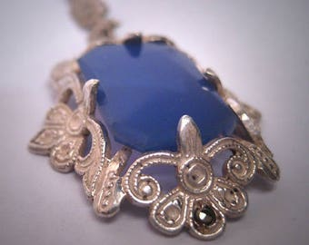 Antique Blue Chalcedony Agate Rose Cut Filigree Necklace Lavaliere Sterling Silver Vintage Art Deco 20s