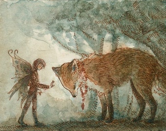 The Exchange - ACEO fox and fairy painting print