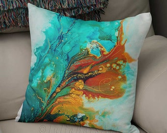 Decorative Pillows, Throw Pillows, Floral Pillow Cover, Abstract Pillow, Blue Orange Turquoise Teal, Lumbar Pillow, Cushions, Couch Pillows