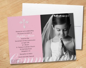 Girl's First Communion Invitations, Photo Communion Invitations, First Holy Communion Invitations, Communion invitations for Girls