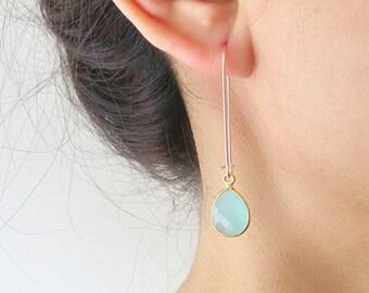 Long Gold Dangle Gemstone Earrings - Gold Dangle Earrings