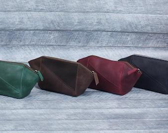 toiletry bag. Leather makeup bag makeup bag leather cosmetic bag leather pouch leather toiletry bag cosmetic pouch zipper pouch