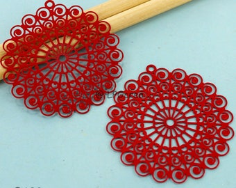 2 stylized rosettes - print - color red - Diam: 42mm # F57
