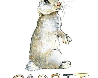 Rabbit Watercolor Sketch Print 5 x 7, 8 x 10, and 11 x 14