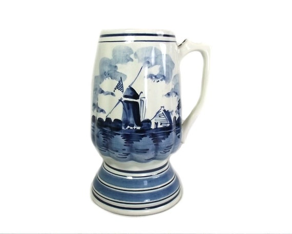 Vintage Blue and White Delft Tankard