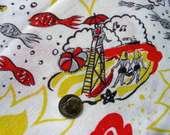 Vintage FEEDSACK Novelty Cotton Quilting Fabric - Fish, Boating, People Swimming, Music Notes, Sun Smiling, on the Beach * 36 x 36