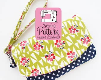 Zip Pocket Pouch Wristlet PDF Sewing Pattern | Intermediate sewing project to make a wristlet wallet with two pockets.