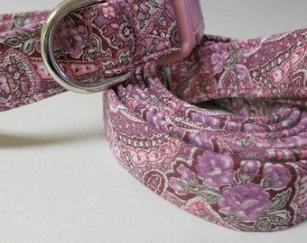 Collar and Leash Set - Dusty Rose and Lilac Paisley Fabric