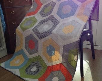 Handmade Hexagon Patchwork Lap Quilt Retro Colours