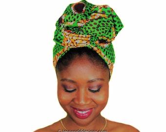 Green circles head wraps ,  African head wrap , African wrap scarf, African headwrap , Head wraps for women , African Head scarf , HT171