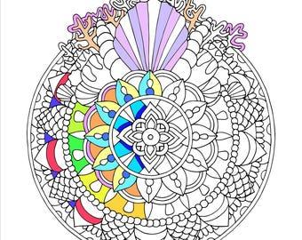 Printable Seashell Mandala Coloring Page
